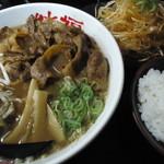 徳福 - 徳島肉そば(トッピング:辛ネギ)、小ライス