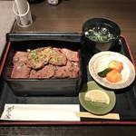 昇家 正々堂 - 特製炭焼塩タン重 980円  肉大盛り450円