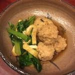 東家 - がんもどき、小松菜、鶏つくねの炊き合わせ