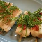 串ひで - 料理写真:ササミ 辛子明太焼き、梅しそ焼き