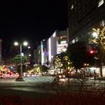 長浜屋台 やまちゃん - 天神の街並み。寒い、、。