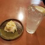 うなぎ登喜川 - 山東菜とレモンサワー