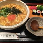 99303359 - [2018年12月]あんかけ仕立て明太子のたまごとじうどん  寿司定食付き