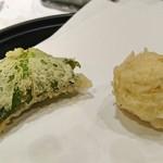 天源・天ぷら専門店 - 左から山芋、ゆりね