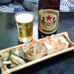 篝 - 中瓶ビールと小鉢