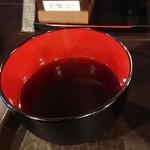 99354979 - つけ出汁というかスープ?  ラー油が浮いています