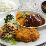 レストラン 幹 - 日替りランチ 740円 ハンバーグと海老クリームコロッケ ライス ミソ汁付