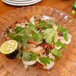 鎗屋町 134 - 静岡「金目鯛」の炙りと大葉、すだちのカルパッチョ