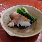 ながや - 料理写真:本ミル貝とアオリイカ 塩ウニ乗せ