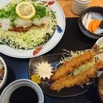 とんかつかつ饗 - ネギおろしロースかつ定食 1450円+エビフライ2本