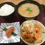 博多めんたい やまや食堂 - 料理写真:【2019/1】定食+鶏唐揚げ