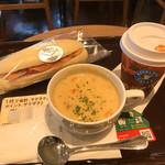 エクセルシオール カフェ - サーモン&クリームチーズ&スープドリンクセット