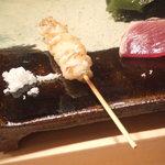 寿司処 黒杉 - 穴子の皮の 串焼き