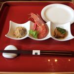 99527027 - 「かき揚げ蕎麦のミニコース」 ①前菜3種