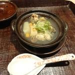いはら田 - すっぽんと牡蠣、滋賀県の信長葱の焼き葱の小鍋