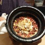 いはら田 - 食事はカニとしば漬けの土鍋ご飯