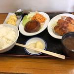 京都だるまや食堂 - 料理写真:ハンバーグ、チキンカツ、だし巻き三点定食