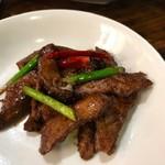 99537871 - 北京ダックの残った身は辛味噌で炒め物に