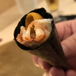 鮨 そえ島 - 車海老&雲丹海苔巻き・・海老も甘く味噌もタップリですし、海苔の質もいいので美味しいこと。