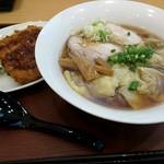 あじふく - 料理写真:ワンタンメンAセット(ミニsourceカツ丼)(201809)