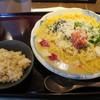 釜揚げうどん 鈴庵 - 料理写真:じゃがいもポタージュの明太チーズ釜玉 仕上げ麦めし付き