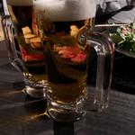 炭火焼肉・にくなべ屋 びいどろ - 飲み放題の生ビール