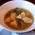 アル フィオーレ - 丹波篠山産いのししとパンダ豆のスープ@AL FIORE◎2008/12