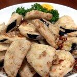 唐朝刀削麺 - 揚げナスの山椒風味