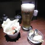 揚八 - スティックサラダ、生ビール