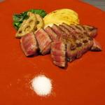 神戸牛ステーキ 桜 - 熟成神戸牛モモ100g 季節の焼き野菜
