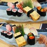 江戸前 松栄寿司 - ランチのにぎり(上:特上にぎり2,625円 下:上にぎり2,310円)
