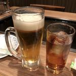 紋 - 生ビールとウーロン茶