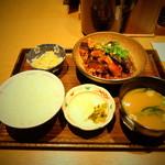 土鍋炊きごはん なかよし - 茄子と豚肉の味噌炒め定食(980円)