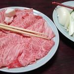 盃花羅亭 - すき焼きのお肉と野菜