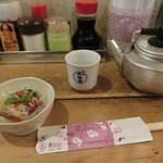 七輪浜焼きと鮨 番屋余市 - 熱燗(月桂冠)650円、お通し300円