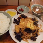 中華西銀座大王 - 木耳玉子炒め定食(木須肉ムースーロー定食)750円