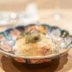 荒木町たつや - 鳥取県の松葉蟹 二色の菊花、 岡若布、 お出汁とお酢のジュレ