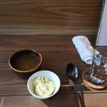 PORK&WINE Boo Boo - ポルチーニとトリュフのデミグラスハンバーグランチ1,500円、スープとサラダ