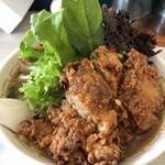 メンヤ フリースタイル - 料理写真:こってり太麺しょうゆヌードル(大盛)・岩海苔(ラーメンWalker無料クーポン使用)990円
