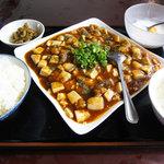 廣州飯店 - 料理写真:週替わりランチ 鶏肉入り麻婆豆腐煮込み 680円 杏仁豆腐 ザーサイ スープ