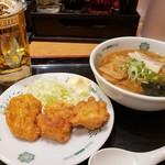 日高屋 - おつまみ唐揚げ&半ラーメン2019.1.6