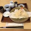 手碾き蕎麦天しん - 料理写真:天ぷら蕎麦の海老の天ぷら、つゆ、薬味等