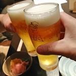 魚貝三昧 げん屋 - まずは生ビールで乾杯~