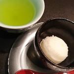 魚貝三昧 げん屋 - 柚子のシャーベットとお茶