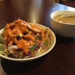肉&チーズバル Benvenuta - ランチのサラダ・スープ