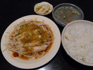 台湾料理 五味香 - 本日の定食(トリモモのネギ油風味)