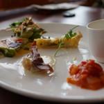 Restaurant Potager - 前菜のプレート(ポタージュ、キッシュ、ラタトゥユ、テリーヌ、ニョッキ)