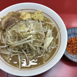 千里眼 - ラーメン 麺140g ヤサイ少な目・ニンニク・ショウガ・カラアゲ別皿で 750円