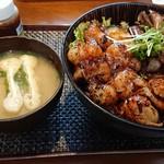 どんぶりざえもん - 料理写真:和牛カルビ&ホルモン丼 お肉倍増 1,700円