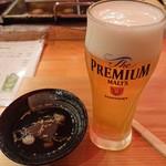 小田原おでん 本陣 - 2019年1月 小田原おでん六点盛り+ミニビール 1180円,お通し 380円